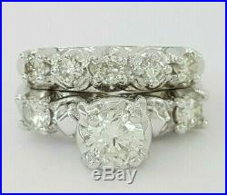 1.25 ct Vintage 14K Gold Round Cut Diamond Engagement / Wedding Band Ring Set