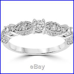 1/2ct Vintage Diamond Wedding Ring 14K White Gold Womens Art Deco Stackable Band