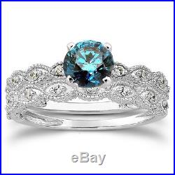 1/2ct Vintage Treated Blue & White Diamond Engagement Bridal Ring Set 14K Gold