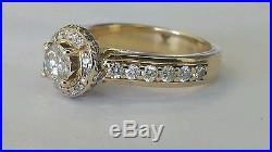 1.30CTW ESTATE VINTAGE ROUND DIAMOND ENGAGEMENT WEDDING RING 14KYG HALO 5.7grams