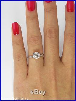 1.30ct Antique Vintage Old Euro Diamond Engagement Wedding Ring Platinum