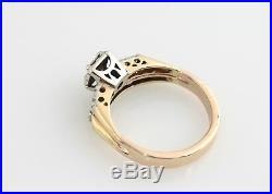 1/3 CTW Diamond Bridal Ring Set 14K Engagement Wedding. 38 Ct RBC Vintage YG WG