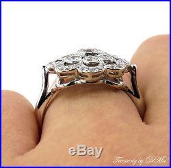 1.42ct Estate Vintage Diamond Engagement Wedding Cluster Snowflake Ring Platinum