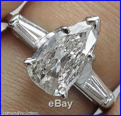 1.42ct Estate Vintage Pear Diamond Engagement Wedding Ring Platinum Egl USA