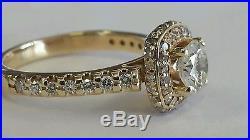 1.47CT ESTATE VINTAGE ROUND DIAMOND ENGAGEMENT WEDDING RING 14KYG HALO 3.89gr