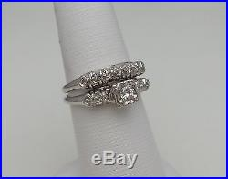 1/4 CT Vintage Antique Diamond Engagement Wedding Ring Set 14K Gold Anniversary
