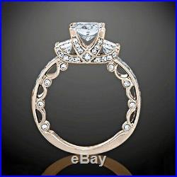 1.50 Ct Princess Cut Diamond Engagement Wedding Vintage Ring 14k Solid Rose Gold