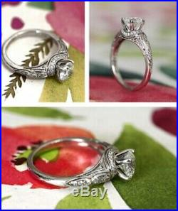 1.50ct Round Cut Diamond 14k White Gold Vintage Style Engagement Wedding Ring