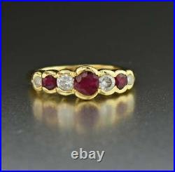 1.5Ct Round Cut Ruby & Diamond Vintage Engagement Ring 14K Yellow Gold Finish