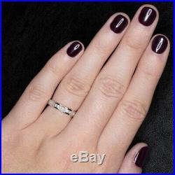 1.5ct BAGUETTE DIAMOND F-G ETERNITY WEDDING BAND EMERALD CUT RING VINTAGE 18K WG