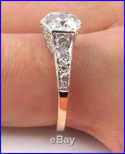 1.62ct Antique Vintage Edwardian Diamond Engagement Wedding Ring Egl USA Rose G