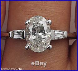 1 65ct Estate Vintage Oval Diamond Engagement Wedding Ring Platinum Egl Usa