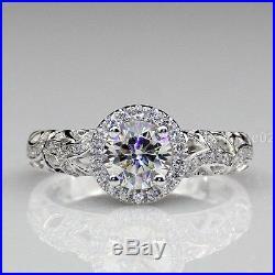 1.74 ct Round White Moissanite Vintage Filigree Wedding Ring Certified 14k gold