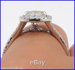 1.75ct Estate Vintage Oval Diamond Engagement Wedding Platinum Ring Halo Setting
