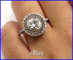 1.78ct Estate Vintage Old Euro Diamond Engagement Wedding Ring Egl USA Plat