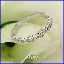 1 CT Round Cut Diamond 14k White Gold Finish Vintage Womens Wedding Band Ring