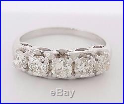 1 ct Vintage 14K Gold 5 Five Stone Round Cut Diamond Wedding Band / Ring