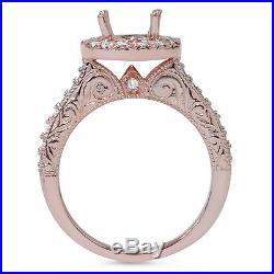 1ct Vintage Engagement Wedding Ring Semi Mount Set 14K Rose Gold