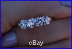 1ct wedding anniversary 4 diamond vintage antique band ring 14k White gold