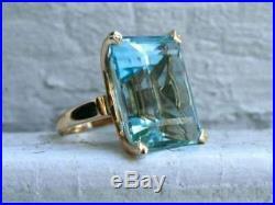25Ct Emerald Cut Aquamarine Vintage Engagement Ring 14k Rose Gold Finish