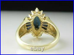 2Ct Marquise Cut Blue Sapphire Women's Engagement Ring 14K Yellow Gold Over