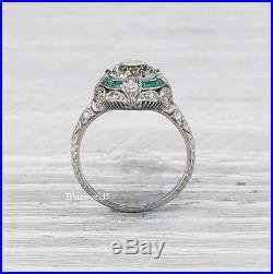 2Ct Off White Moissanite Vintage Art Deco Engagement Ring Wedding 925 Silver