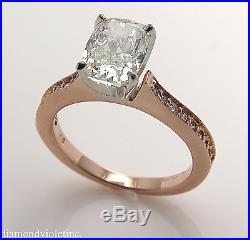 2.00CT ESTATE VINTAGE CUSHION DIAMOND ENGAGEMENT WEDDING RING 14K ROSE GOLD EGL
