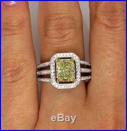 2.00ct Vintage Estate Fancy Yellow Radiant Diamond Engagement Wedding Ring Egl