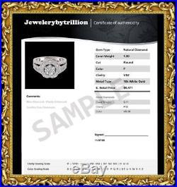 2.00 Carat Vintage Cluster Engagement Wedding Ring In 10k Solid White Gold