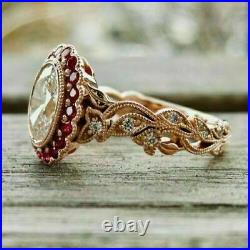 2.00 Ct Oval Cut Diamond & Red Ruby Engagement Vintage Ring 14K Rose Gold Over