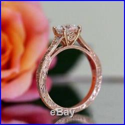 2.00ct Round Cut Diamond 14k Rose Gold Vintage Women's Engagement Wedding Ring