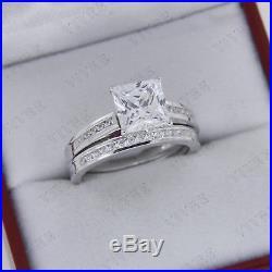 2.15 Ct Princess cut Diamond Vintage Engagement Wedding Ring Set 10k White Gold