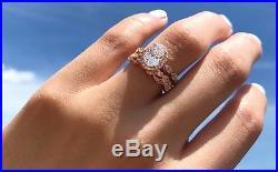 2.20 Ct Oval Halo Solitaire Engagement Vintage Bridal Ring Set 14K Rose Gold Fn