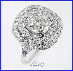 2.26ct Estate Vintage Old Cushion Diamond Cluster Engagement Wedding Ring Egl Pt