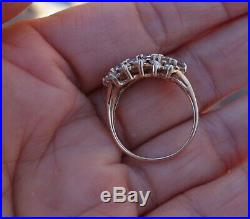 2.2cts 3 row vintage diamond wedding band or right-hand ring 14k YG