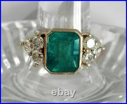 2.45Ct Emerald Cut Green Emerald Antique Vintage Ring 14K Yellow Gold Over