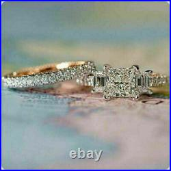2.50 Ct Diamond Halo Vintage Engagement Wedding Band Ring Set 14K White Gold Fn