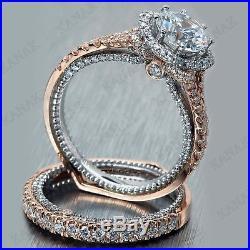 2.50 Ct Round Cut Diamond 10k Two-tone Gold Bridal Set Vintage Engagement Ring
