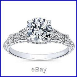 2.50 Ct Round Cut Diamond Vintage Style Engagement Wedding Ring 10k White Gold