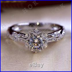 2.50 Ct Round Cut VVS1 Diamond Vintage Engagement Wedding Ring 14k White Gold Fn