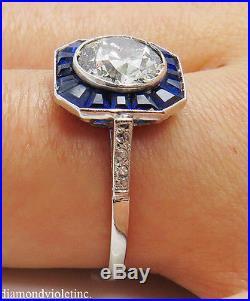 2.52ct Antique Vintage Deco Old Euro Diamond Engagement Wedding Ring Plat Egl Us