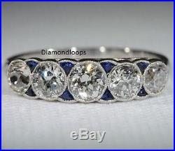 2.60Ct 5 Stone Off White Moissanite Engagement & Wedding Vintage Ring 925 Silver