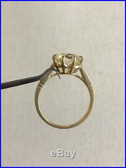 2.73 CT Old European Cut Diamond Ring 14k Yellow Gold Engagement Wedding Vintage