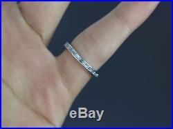 $2,750 Vintage 18k White Gold Baguette Diamond 2.4mm Eternity Wedding Band Ring