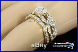 2.75 ct Pave Diamond Infinity Engagement Bridal Ring Set Vintage Yellow Gold 14k