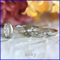 2 CT Diamond Halo Vintage Engagement Wedding Band Ring Set 14K White Gold Over