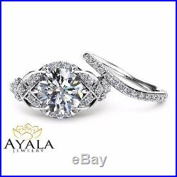 2 Carat Diamond Wedding Ring Set in 14K White Gold Vintage Styled Rings