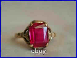 2 Ct Emerald Brilliant Cut Ruby 14K Rose Gold FN Vintage Engagement Solid Ring