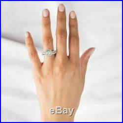 2 Ct Round Shape Diamond Engagement Ring Wedding Set Vintage 14K White Gold Over