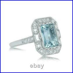 3Ct Aquamarine Halo Vintage Bridal Anniversary Gift Ring 14K White Gold Finish